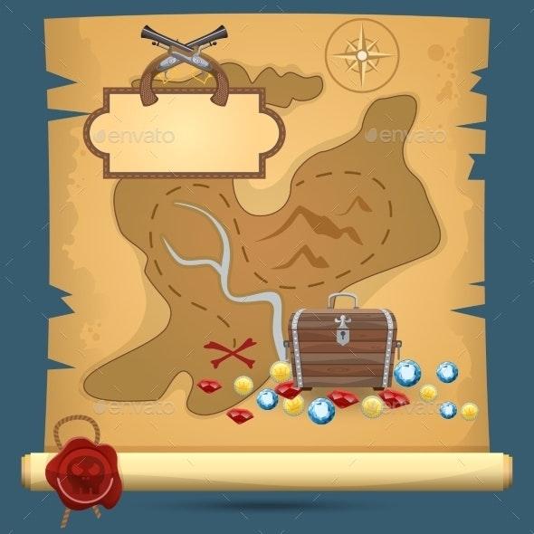 Pirate Treasure Map - Backgrounds Decorative