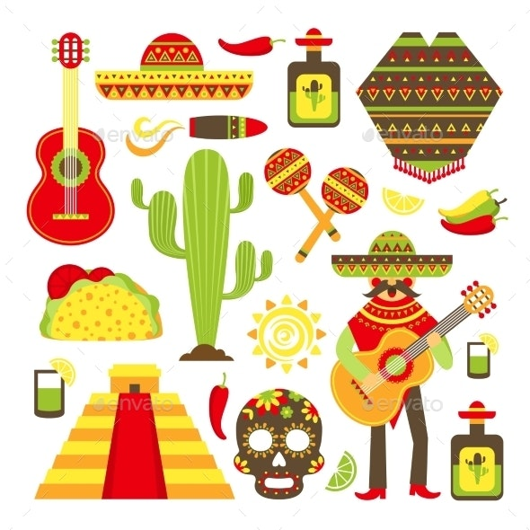 Mexico Decorative Icons Set - Travel Conceptual