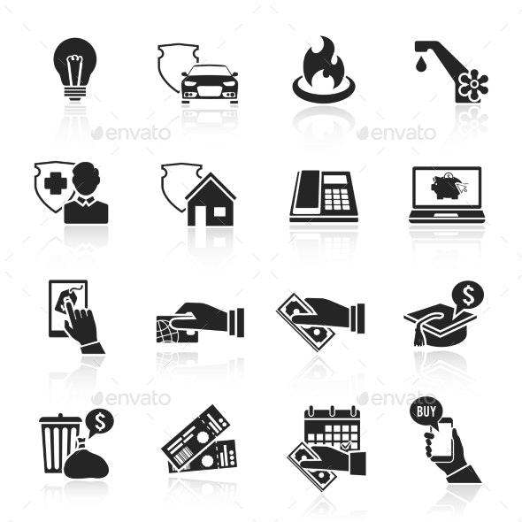 Pay Bill Icons Black Set - Web Elements Vectors