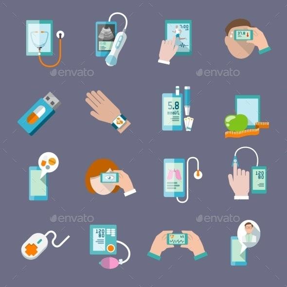 Mobile Health Icons Set Flat - Health/Medicine Conceptual