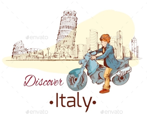 Discover Italy Poster - Travel Conceptual