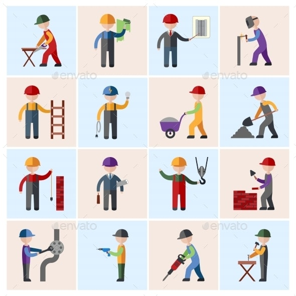 Construction Worker Icons Flat - People Characters