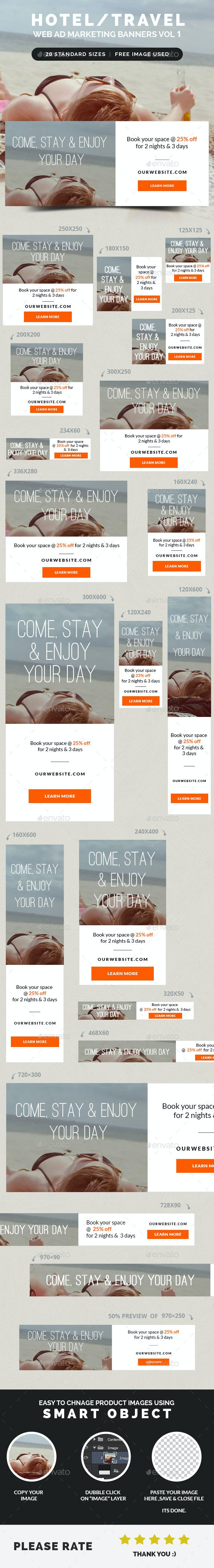 Hotel / Travel Web Ad Marketing Banners Vol 1 - Banners & Ads Web Elements