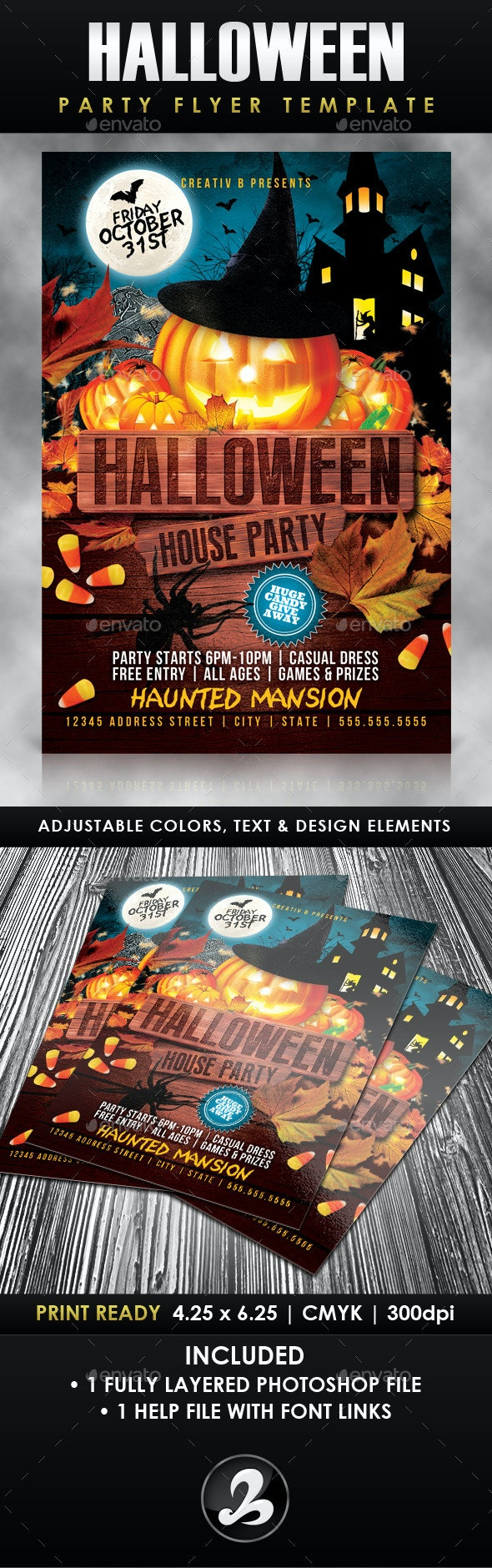 Halloween House Party Flyer Template - Events Flyers