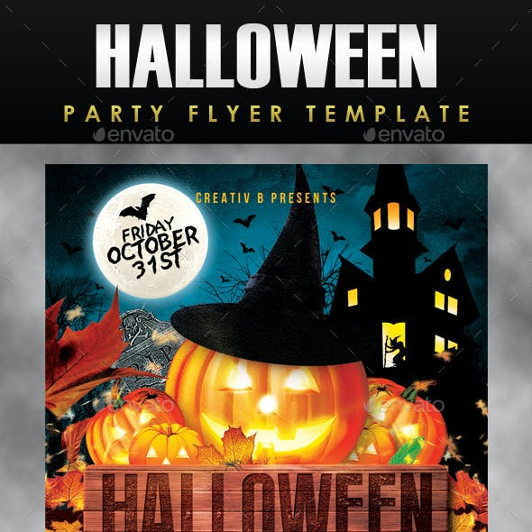 Halloween House Party Flyer Template