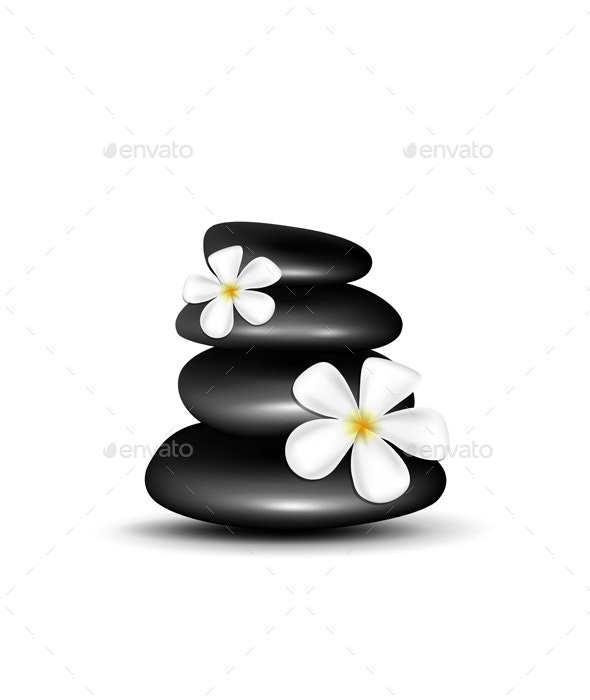 Spa Stones with White Flowers - Organic Objects Objects