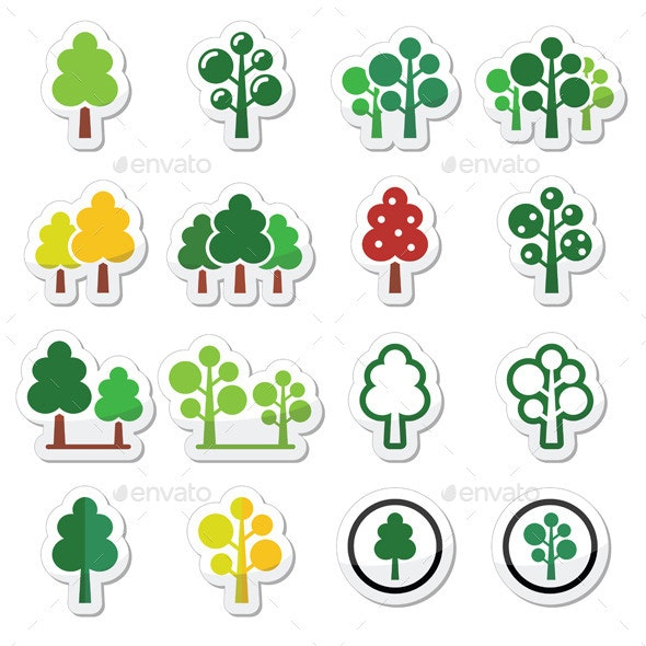 Trees, Forest, Park Vector Icons Set  - Flowers & Plants Nature