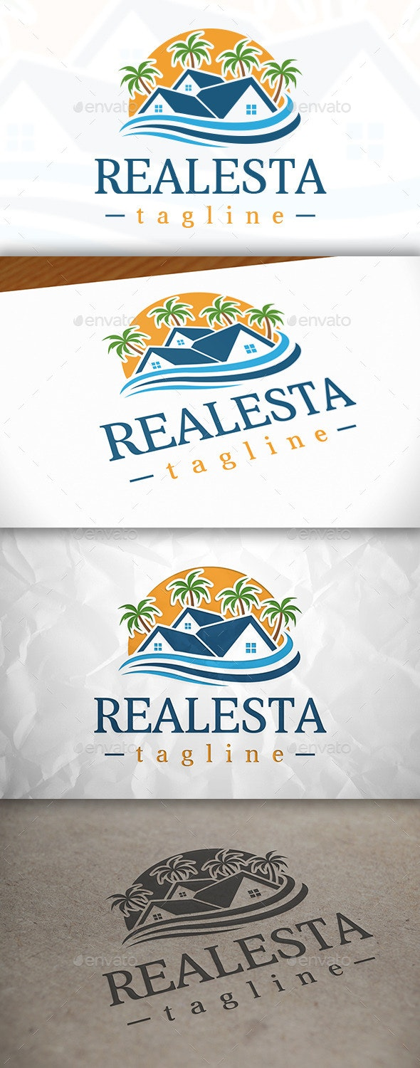 Beach Real Estate Logo Template - Buildings Logo Templates