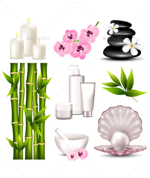 Set of Spa Icons - Organic Objects Objects