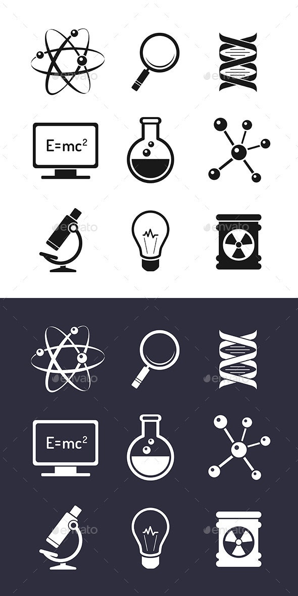Chemistry And Science Icons - Conceptual Vectors