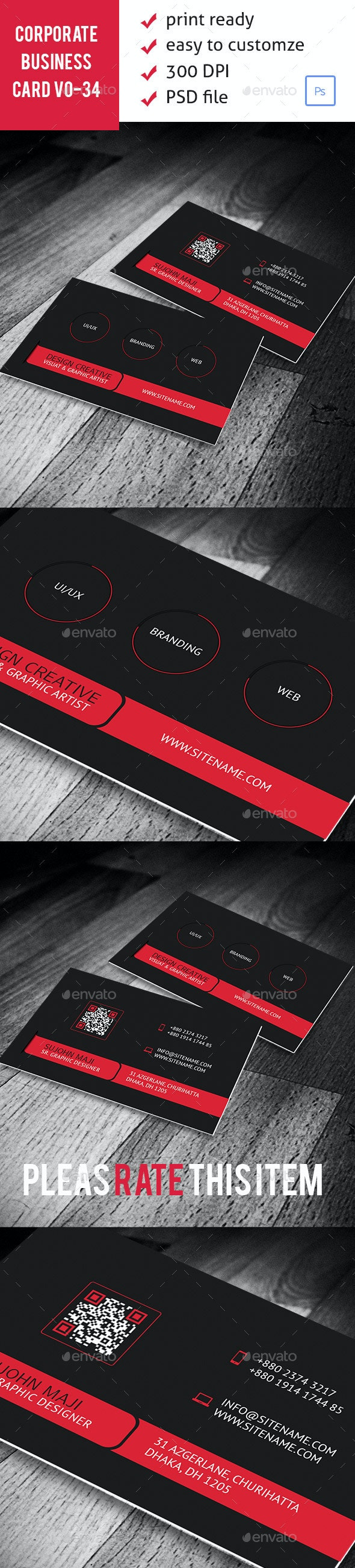 Corporate Business Card VO-34 - Corporate Business Cards