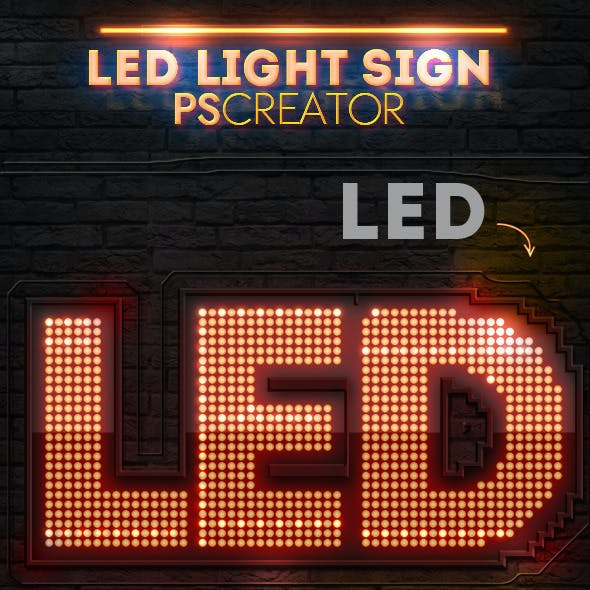 LED Lights Sign Photoshop Creator