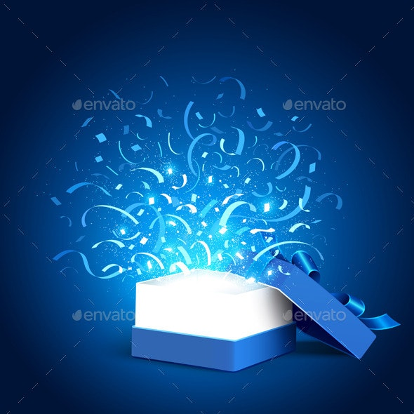 Open Holiday Box and Confetti - Christmas Seasons/Holidays