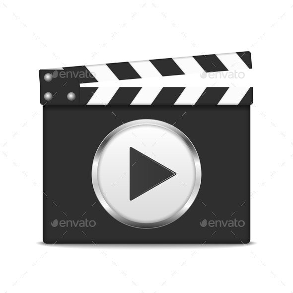 Clapper Board with Play Button - Objects Vectors
