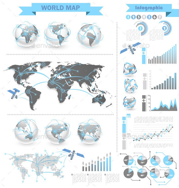 World Map Infographic - Technology Conceptual