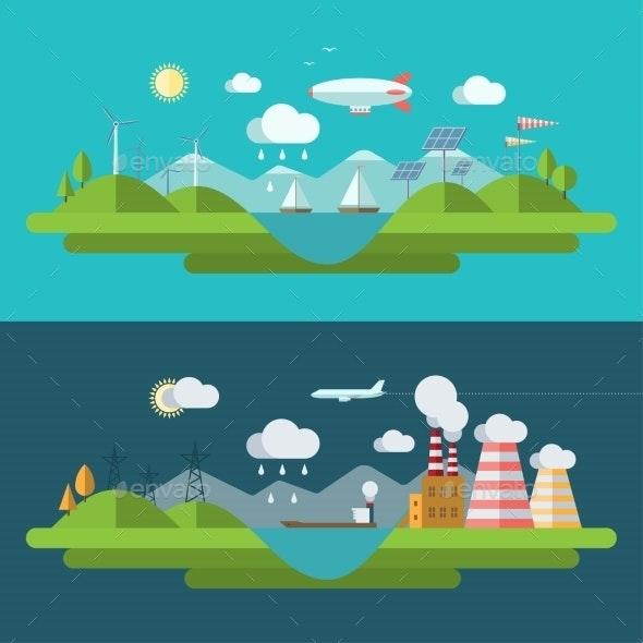 Flat Design Vector Ecology Concept Illustration - Miscellaneous Conceptual