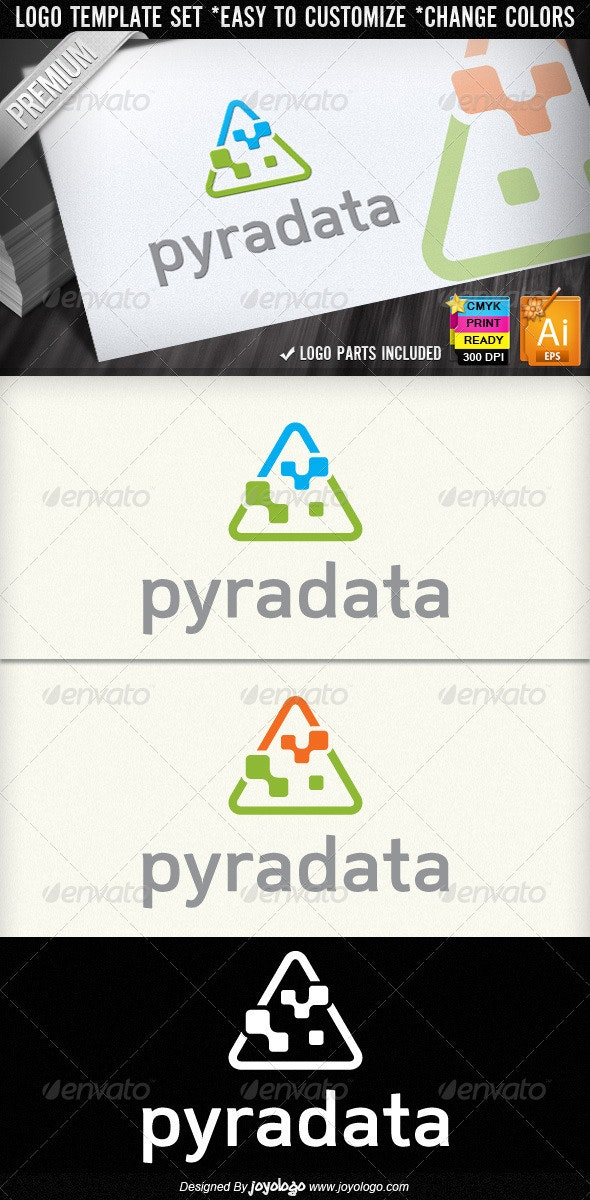Pyramid Data Abstract Digital Computers Logos - Objects Logo Templates