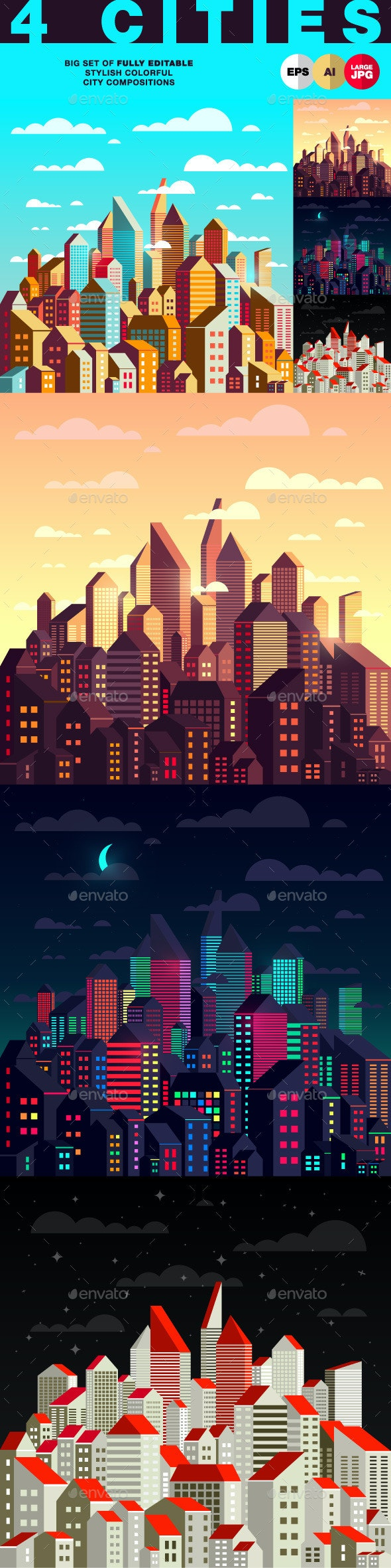 Stylish Colorful City Compositions - Buildings Objects