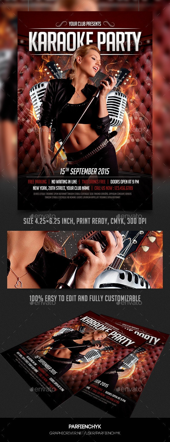 Karaoke Party Flyer Template - Clubs & Parties Events