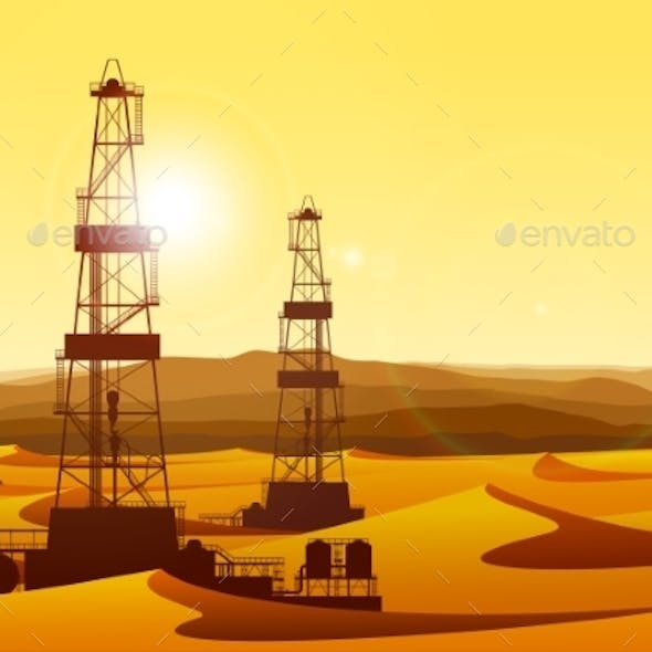 Landscape with Oil Rigs in Barren Desert