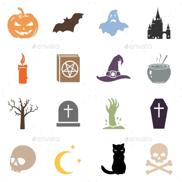 Vector Set of Halloween Icons - Miscellaneous Vectors