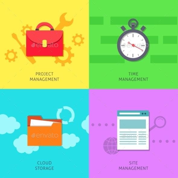 Office Management Icons Set - Concepts Business