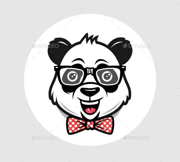 Nerd Panda Cartoon - Characters Vectors
