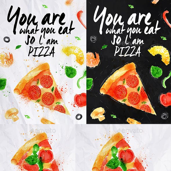 Pizza Watercolor Poster