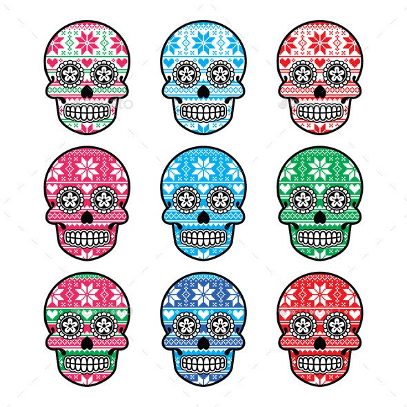 Mexican Sugar Skull with Winter Nordic Pattern  - Patterns Decorative