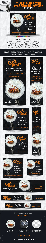 Pest control service banner design set - Banners & Ads Web Elements