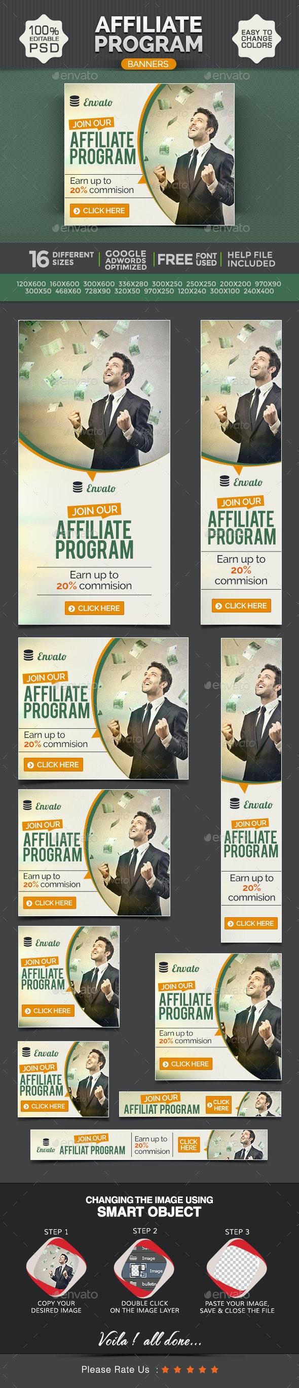 Affiliate Program Web Banner Design Set - Banners & Ads Web Elements