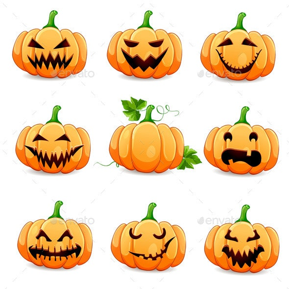 Set Pumpkins for Halloween Isolated on White  - Halloween Seasons/Holidays