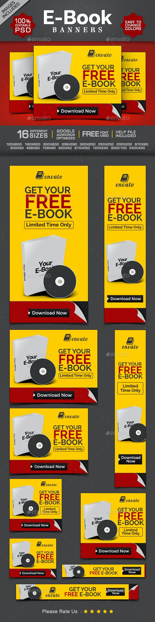 E-Book & Digital Product Web Banners - Banners & Ads Web Elements