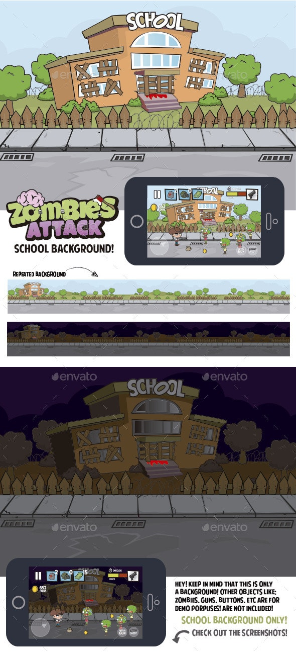 Abandoned School Game Background - Backgrounds Game Assets