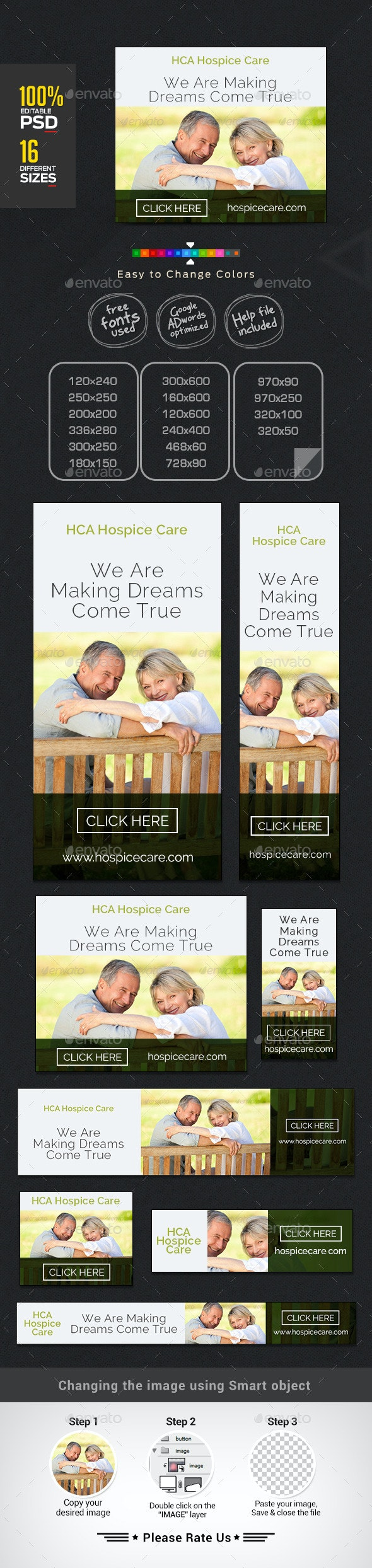 Hospice Care Web Banner Design Set - Banners & Ads Web Elements