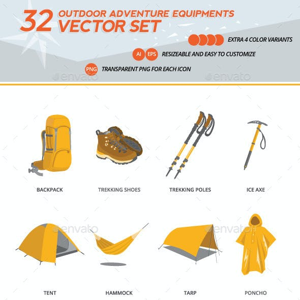 Set of Outdoor Adventure Equipment