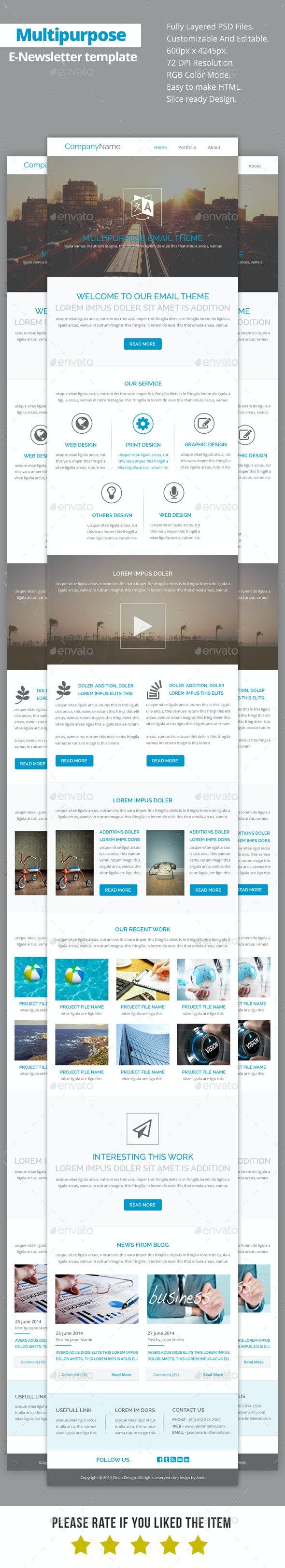 Multipurpose E-Newsletter Template V19 - E-newsletters Web Elements