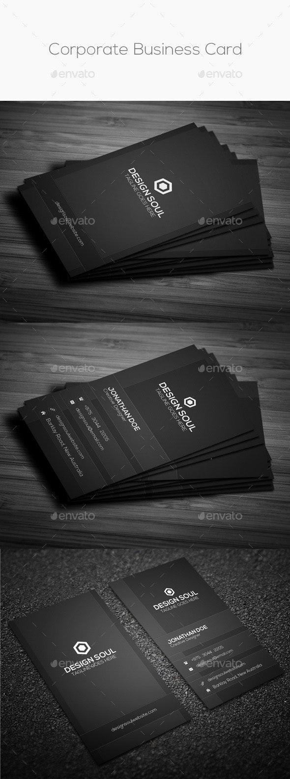Dark & Black Corporate Business Card - Corporate Business Cards