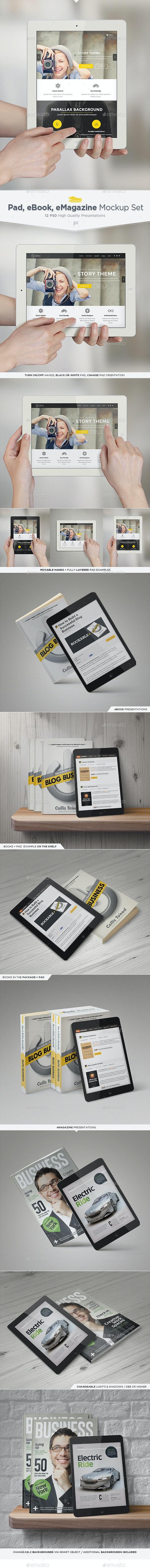 Pad, eBook, eMagazine Mock-Up Set - Multiple Displays