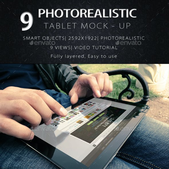 9 Photorealistic Tablet With Hands Mock-Up V2