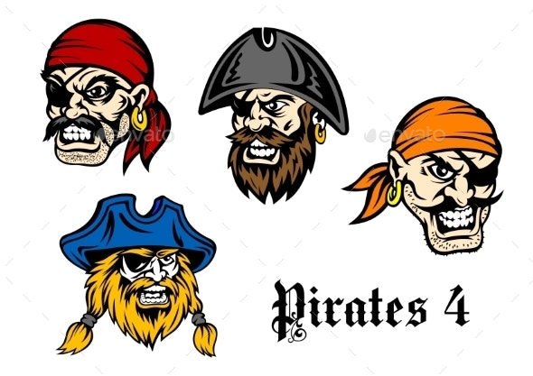 Cartoon Pirates and Captains - People Characters
