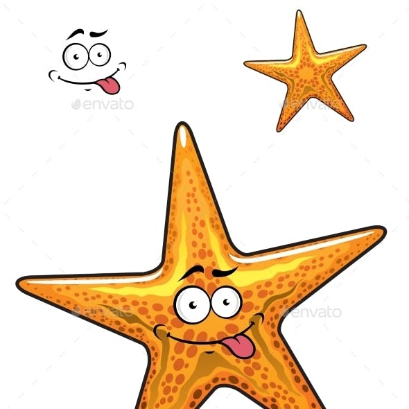 Cartoon Ocean Starfish Character