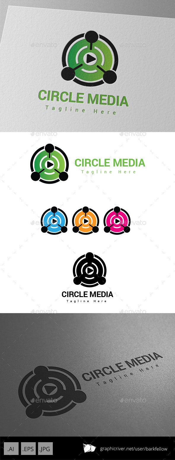 Circle Media Player Logo - Abstract Logo Templates