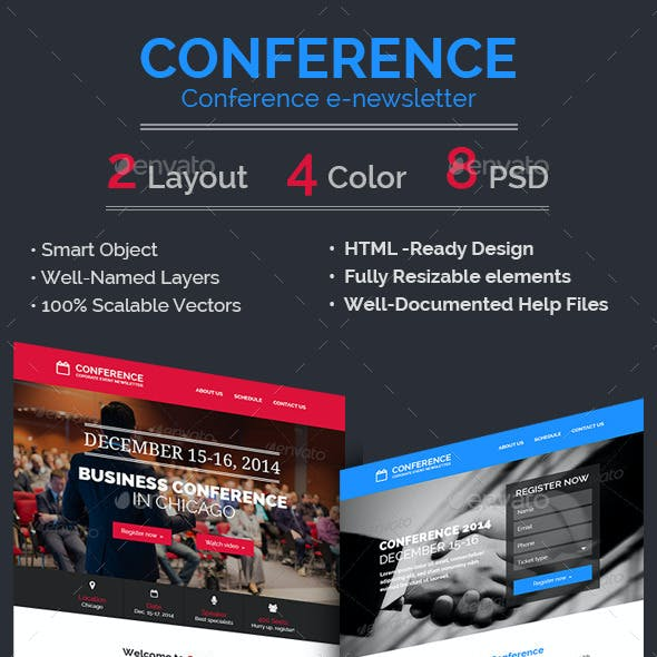 Conference / Event E-newsletter PSD Template