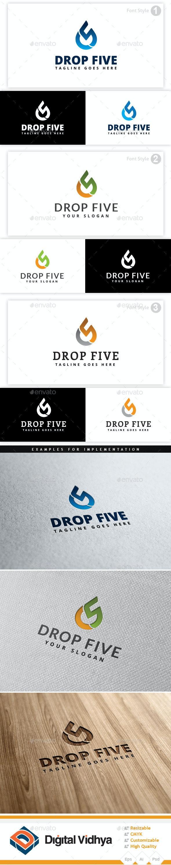 Drop & Five Logo - Symbols Logo Templates