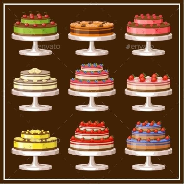 Set of Cakes.  - Food Objects