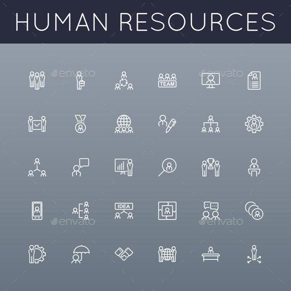 Vector HR Line Icons - Business Conceptual