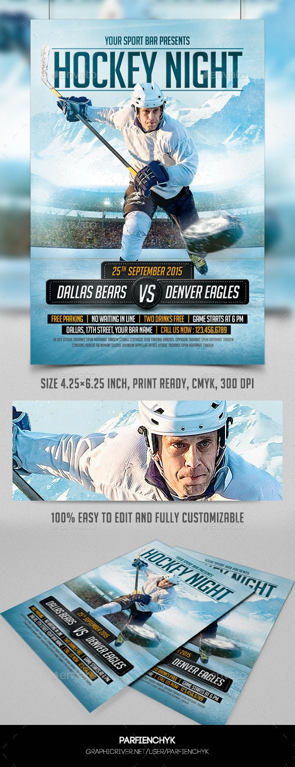 Hockey Night Flyer Template - Sports Events