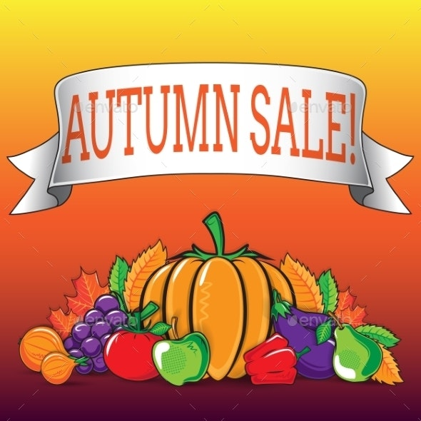 Autumn Background with Vegetables and Fruits. - Backgrounds Decorative