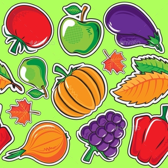 Autumn Pattern with Vegetables and Fruits. - Backgrounds Decorative